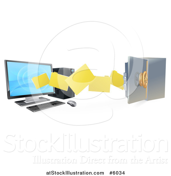 Vector Illustration of a 3d Desktop Computer Moving Files to an Open Vault Safe