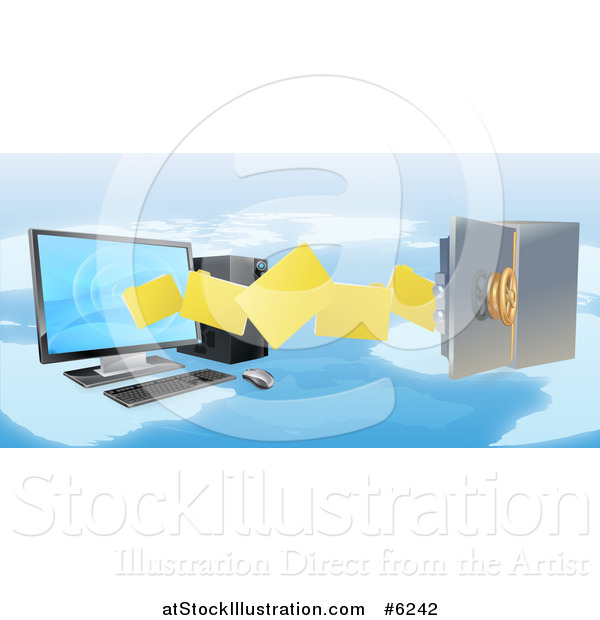 Vector Illustration of a 3d Desktop Computer Moving Files to an Open Vault Safe over a Map