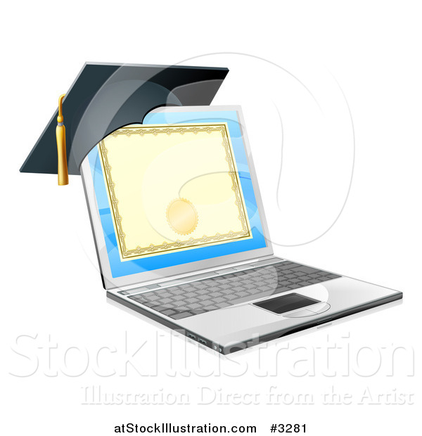 Vector Illustration of a 3d Diploma or Degree on a Laptop Screen with a Graduation Cap