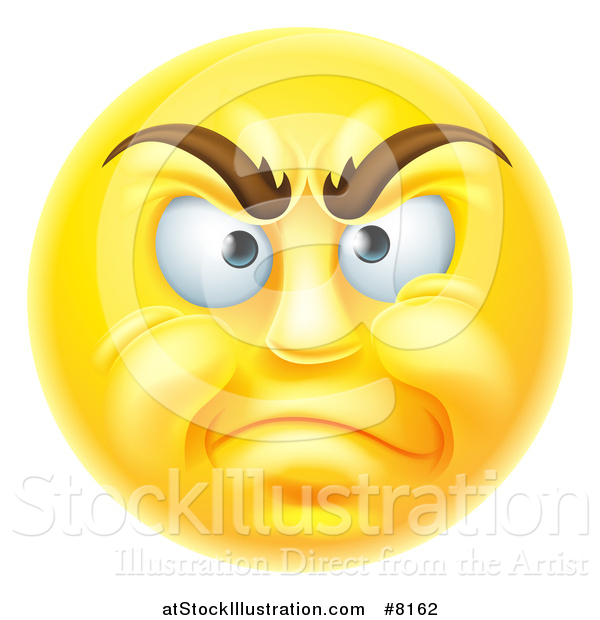 Vector Illustration of a 3d Disapproving Yellow Male Smiley Emoji Emoticon Face