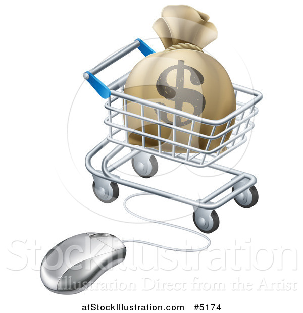 Vector Illustration of a 3d Dollar Money Bag in a Shopping Cart Wired to a Computer Mouse