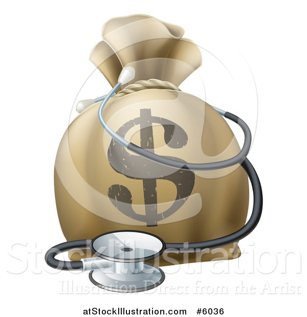 Vector Illustration of a 3d Dollar Symbol Money Bag and Stethoscope