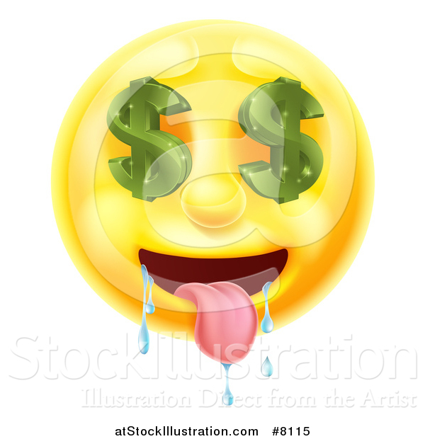 Vector Illustration of a 3d Drooling Yellow Male Smiley Emoji Emoticon Face with Dollar Symbol Eyes
