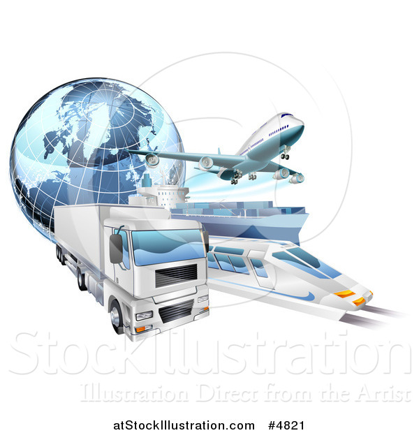 Vector Illustration of a 3d Earth Globe and Cargo Logistics Modes, Train Plane Big Rig and Ship