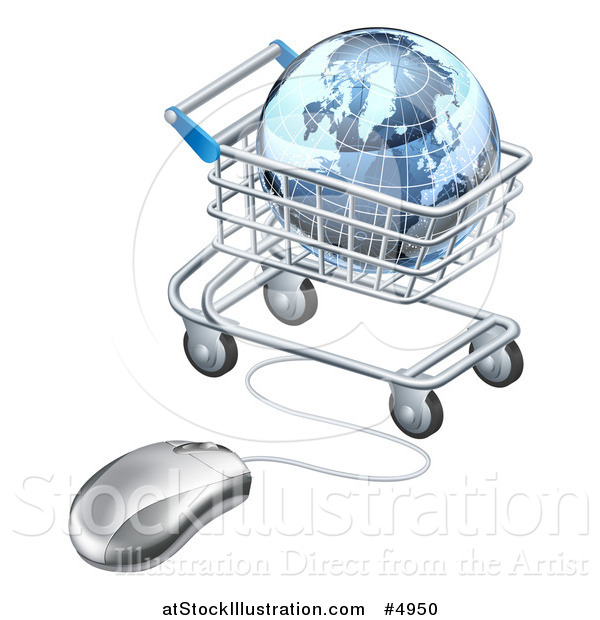 Vector Illustration of a 3d Earth Globe in a Shopping Cart Connected to a Computer Mouse