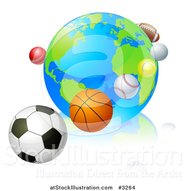 Vector Illustration of a 3d Earth Globe with Sports Balls in Orbit Around It