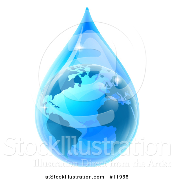 Vector Illustration of a 3d Earth in a Blue Water Droplet