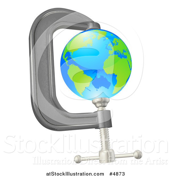 Vector Illustration of a 3d Earth in a Tight Clamp