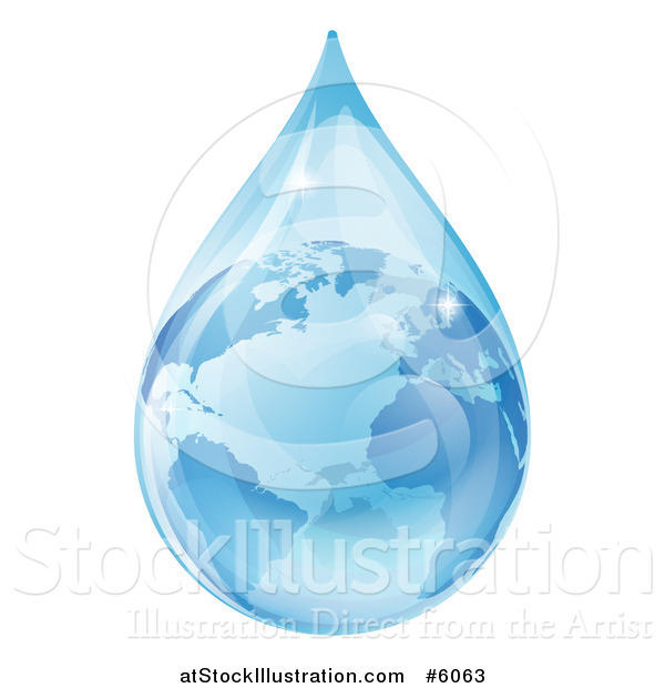 Vector Illustration of a 3d Earth in a Water Droplet