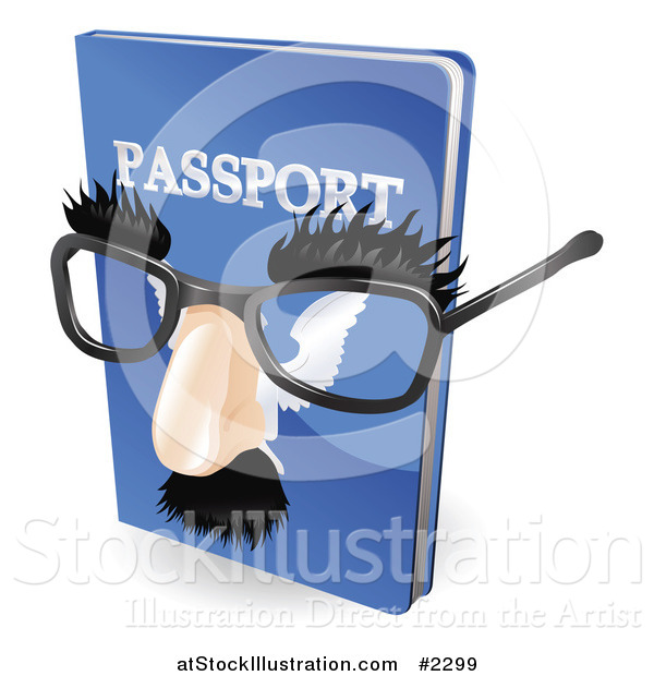Vector Illustration of a 3d False Nose and Glasses on a Passport