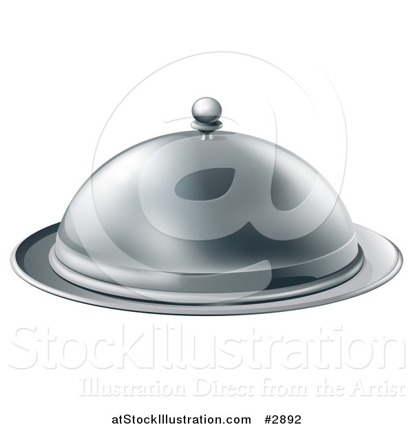 Vector Illustration of a 3d Fancy Silver Cloche Fine Dining Platter
