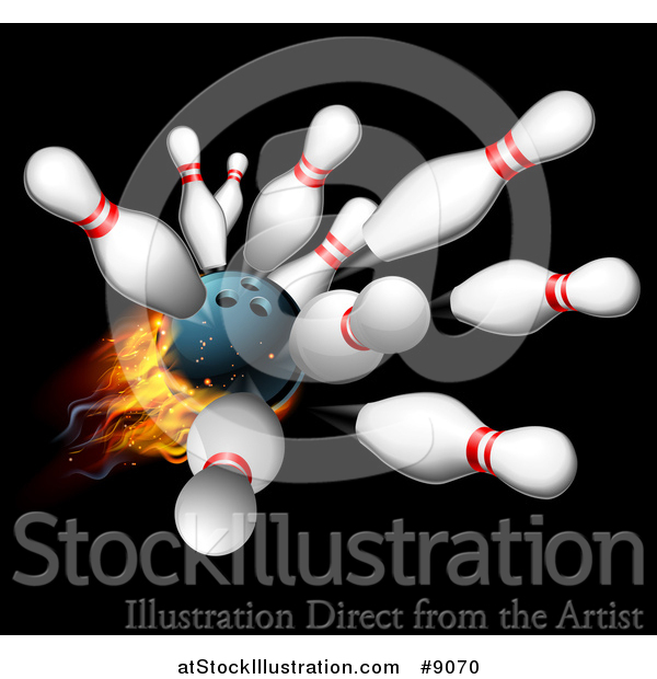 Vector Illustration of a 3d Fiery Bowling Ball Crashing into Pins over Black