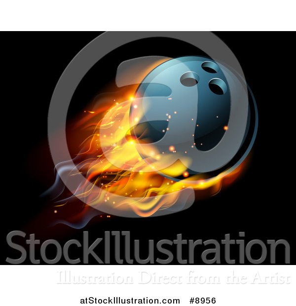 Vector Illustration of a 3d Fiery Bowling Ball Flying over Black