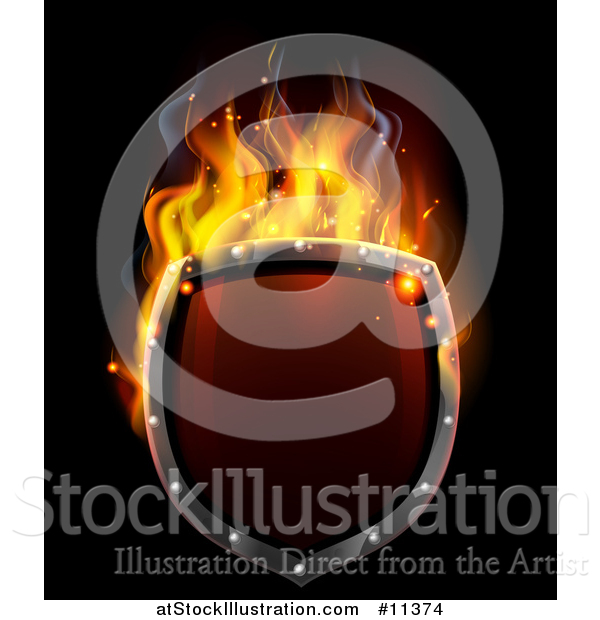 Vector Illustration of a 3d Fiery Hot Shield on Black