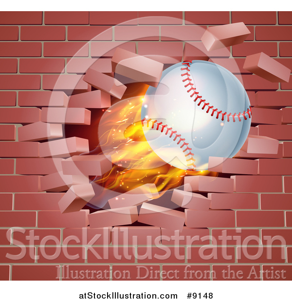 Vector Illustration of a 3d Flying and Blazing Baseball with a Trail of Flames, Breaking Through a Brick Wall