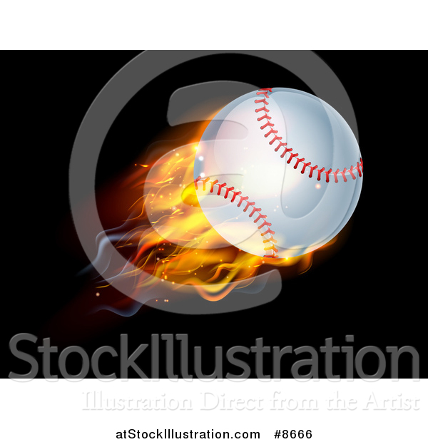 Vector Illustration of a 3d Flying and Blazing Baseball with a Trail of Flames, on Black