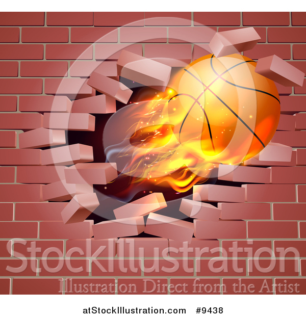 Vector Illustration of a 3d Flying and Blazing Basketball with a Trail of Flames, Breaking Through a Brick Wall