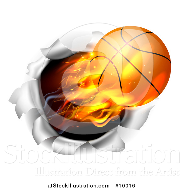 Vector Illustration of a 3d Flying and Blazing Basketball with a Trail of Flames, Breaking Through a Wall