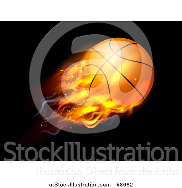 Vector Illustration of a 3d Flying and Blazing Basketball with a Trail of Flames, on Black