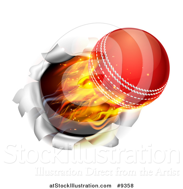 Vector Illustration of a 3d Flying and Blazing Cricket Ball Breaking Through a Wall