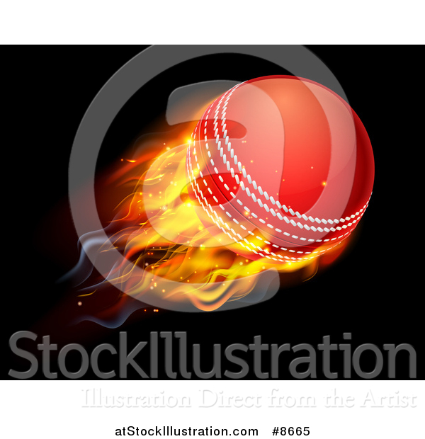 Vector Illustration of a 3d Flying and Blazing Cricket Ball with a Trail of Flames, on Black