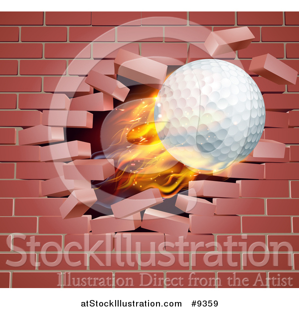 Vector Illustration of a 3d Flying and Blazing Golf Ball Breaking Through a Brick Wall