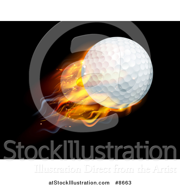 Vector Illustration of a 3d Flying and Blazing Golf Ball with a Trail of Flames, on Black