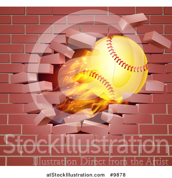 Vector Illustration of a 3d Flying and Blazing Softball with a Trail of Flames, Breaking Through a Brick Wall