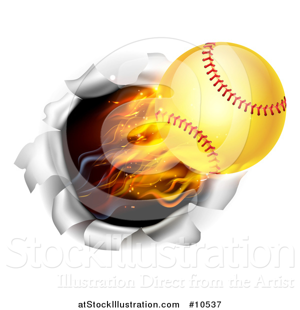 Vector Illustration of a 3d Flying and Blazing Softball with a Trail of Flames, Breaking Through a Wall