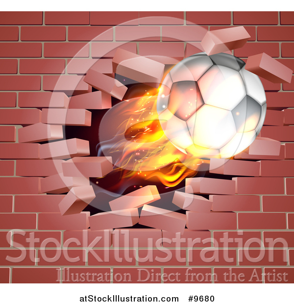 Vector Illustration of a 3d Flying Flaming Soccer Ball Breaking Through a Brick Wall
