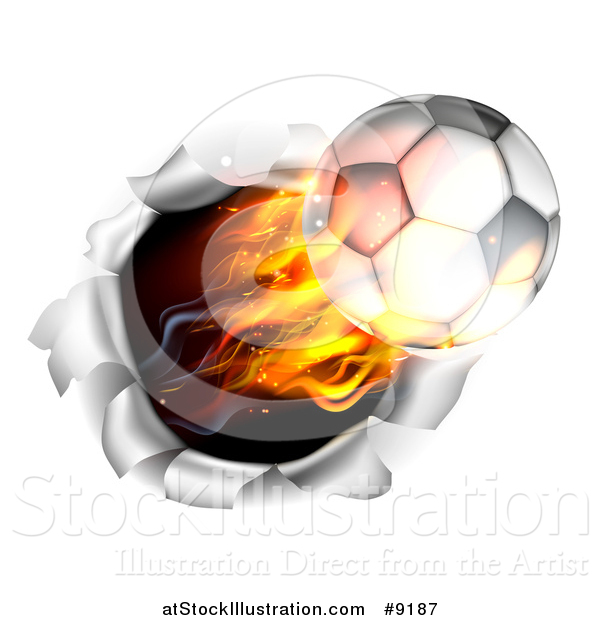 Vector Illustration of a 3d Flying Flaming Soccer Ball Breaking Through a Wall