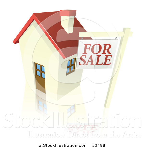 Vector Illustration of a 3d for Sale Sign and Cute Little House with a Reflection
