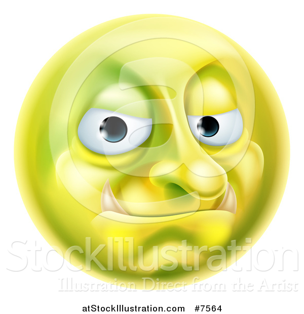 Vector Illustration of a 3d Forum Troll Yellow Smiley Emoji Emoticon Face