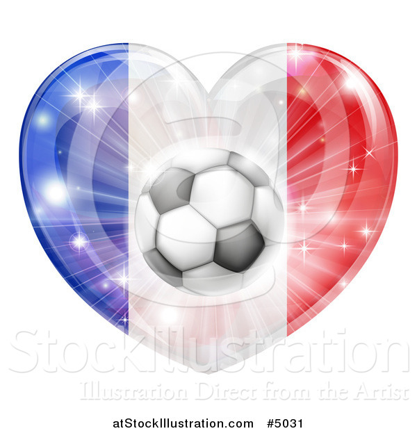 Vector Illustration of a 3d French Flag Heart and Soccer Ball