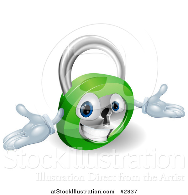 Vector Illustration of a 3d Friendly Padlock with Open Arms