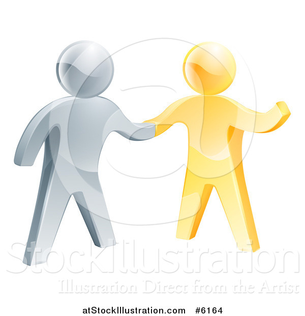 Vector Illustration of a 3d Friendly Silver Man Shaking Hands with a Gold Guy