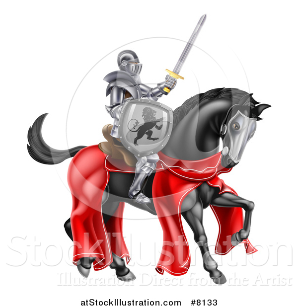 Vector Illustration of a 3d Full Armored Medieval Knight on a Black Horse, Holding a Sword and Shield