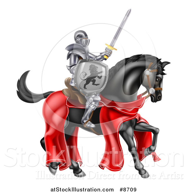 Vector Illustration of a 3d Full Armored Medieval Knight on a Black Horse, Holding up a Sword and Shield