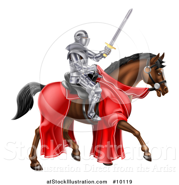 Vector Illustration of a 3d Full Armored Medieval Knight on a Brown Horse, Holding a Sword