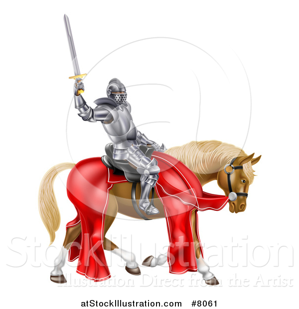 Vector Illustration of a 3d Full Armored Medieval Knight on a Brown Horse, Holding up a Sword