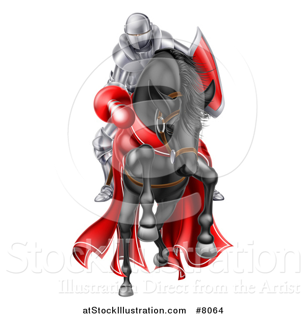 Vector Illustration of a 3d Fully Armored Jousting Knight Charging Forward with a Lance on a Black Horse