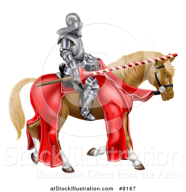 Vector Illustration of a 3d Fully Armored Jousting Knight Holding a Lance on a Brown Horse