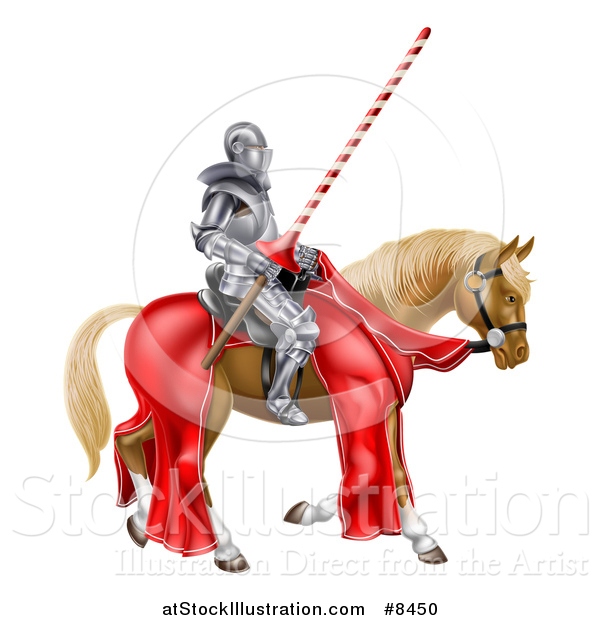 Vector Illustration of a 3d Fully Armored Jousting Knight Holding a Lance on a Horse