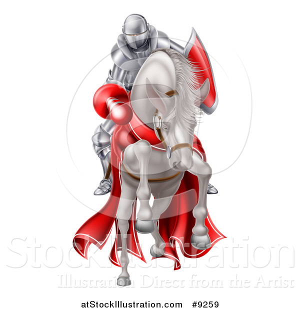 Vector Illustration of a 3d Fully Armored Medieval Jousting Knight Holding a Lance on a Horse As They Charge Forward