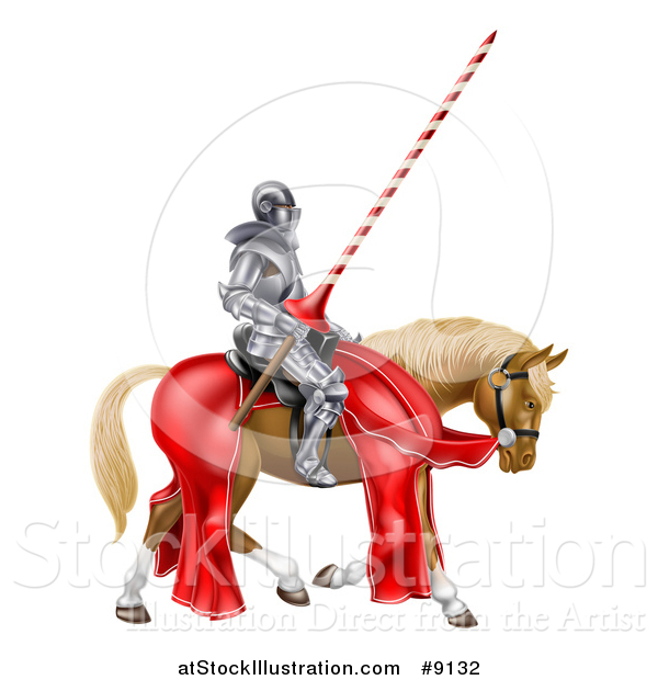Vector Illustration of a 3d Fully Armored Medieval Jousting Knight Holding a Lance on a Horse