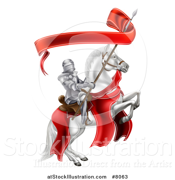 Vector Illustration of a 3d Fully Armored Medieval Knight on a Rearing White Horse, Holding a Banner Ribbon on a Spear