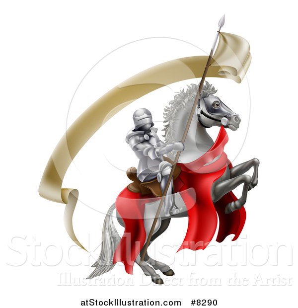 Vector Illustration of a 3d Fully Armored Medieval Knight on a Rearing White Horse, Holding a Spear Flag