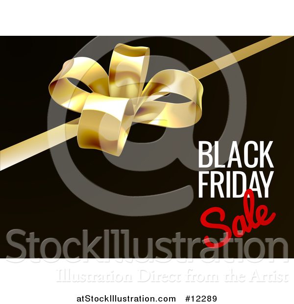 Vector Illustration of a 3d Gift Bow and Black Friday Sale Text on Black