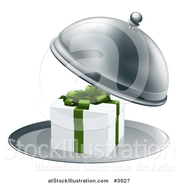 Vector Illustration of a 3d Gift Box in a Silver Platter