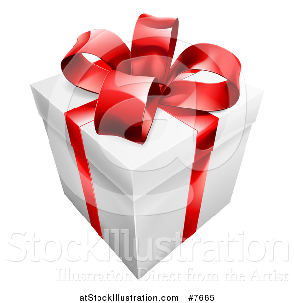 Vector Illustration of a 3d Gift Box with a Red Bow